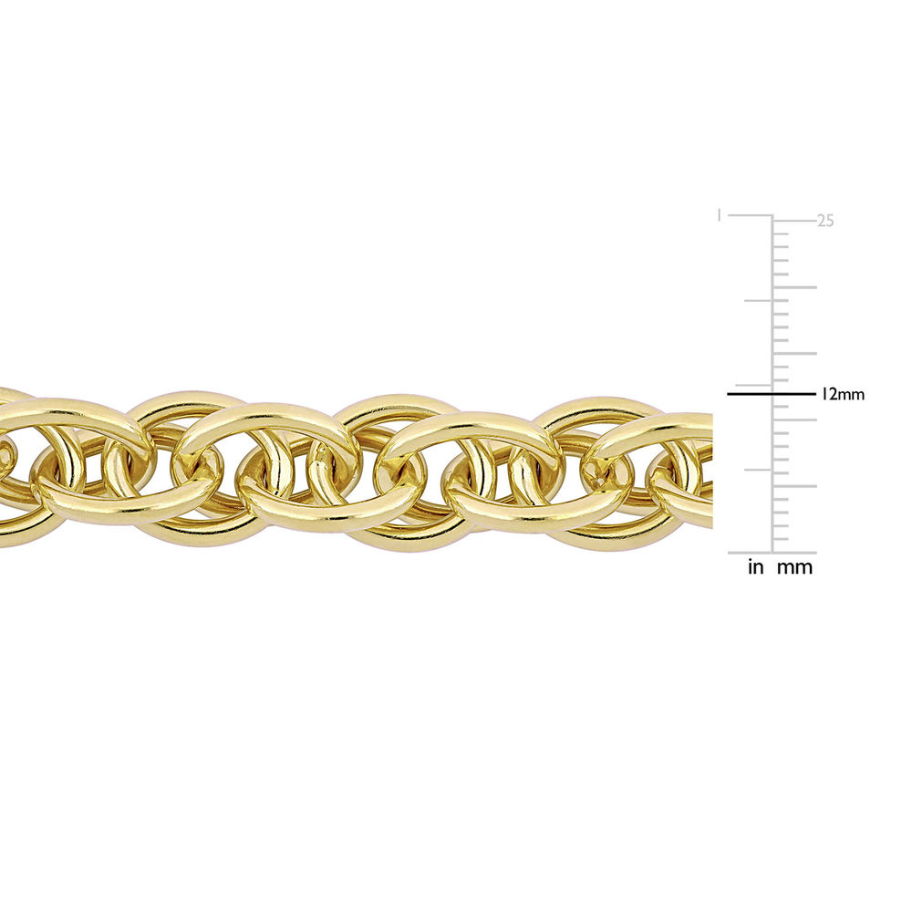 Oval Link Bracelet in Gold Plated Sterling Silver with Big Stylish Spring Ring Clasp - 4