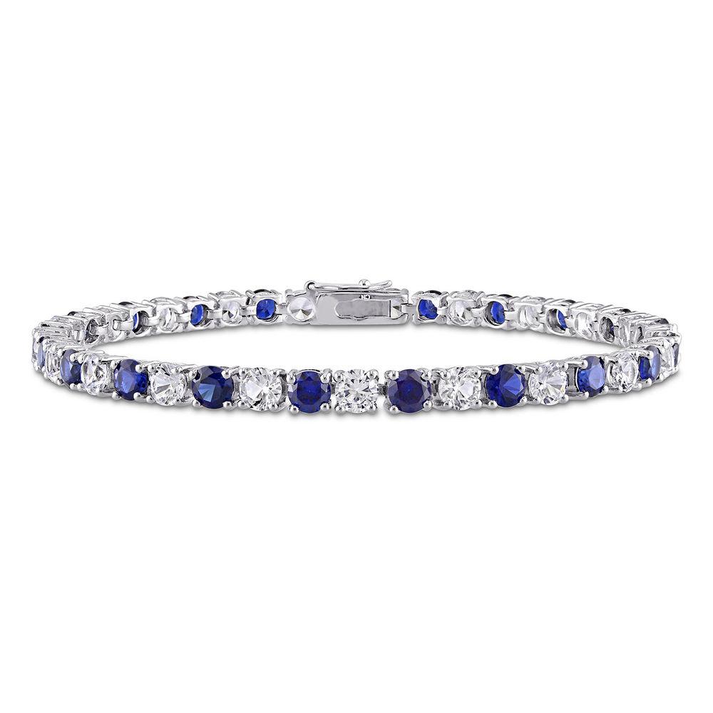 14 1/4 CT TGW Created Blue & White Sapphire Bracelet  in Sterling Silver