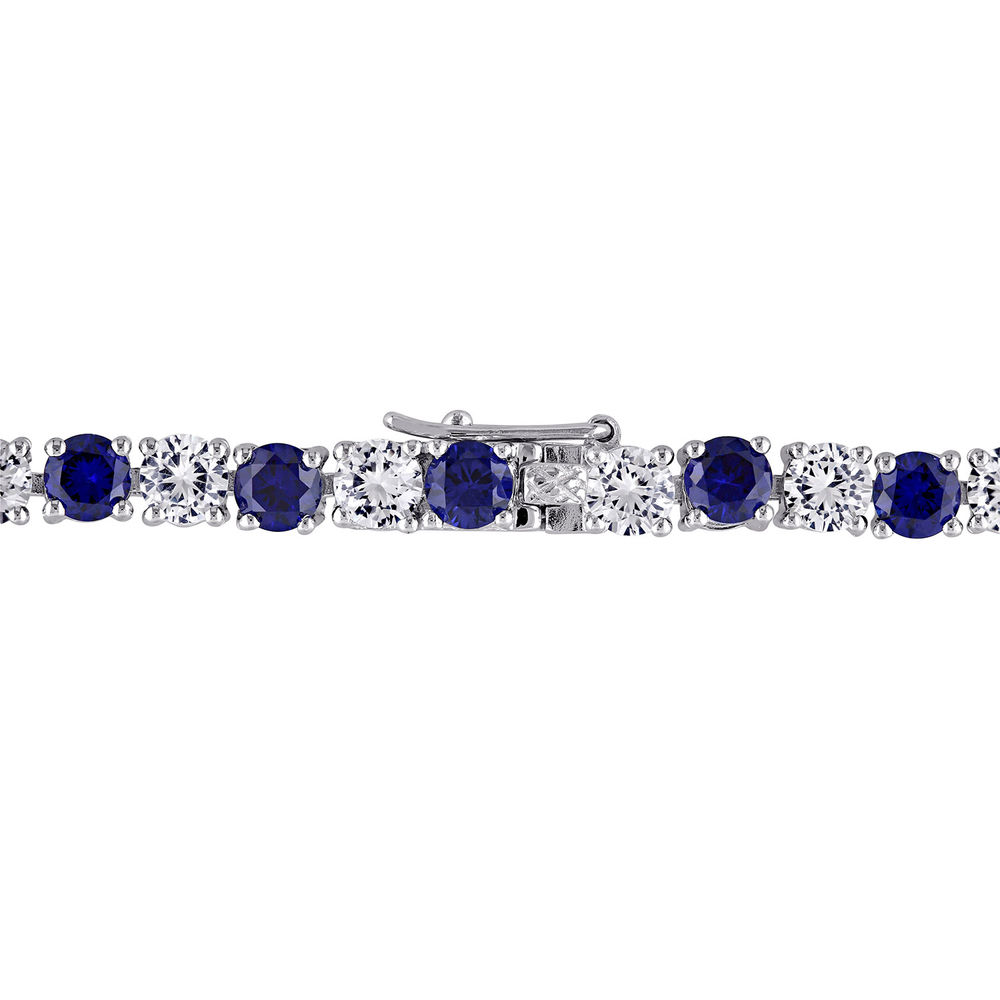 14 1/4 CT TGW Created Blue & White Sapphire Bracelet  in Sterling Silver - 1