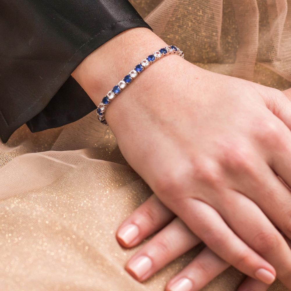 14 1/4 CT TGW Created Blue & White Sapphire Bracelet  in Sterling Silver - 2