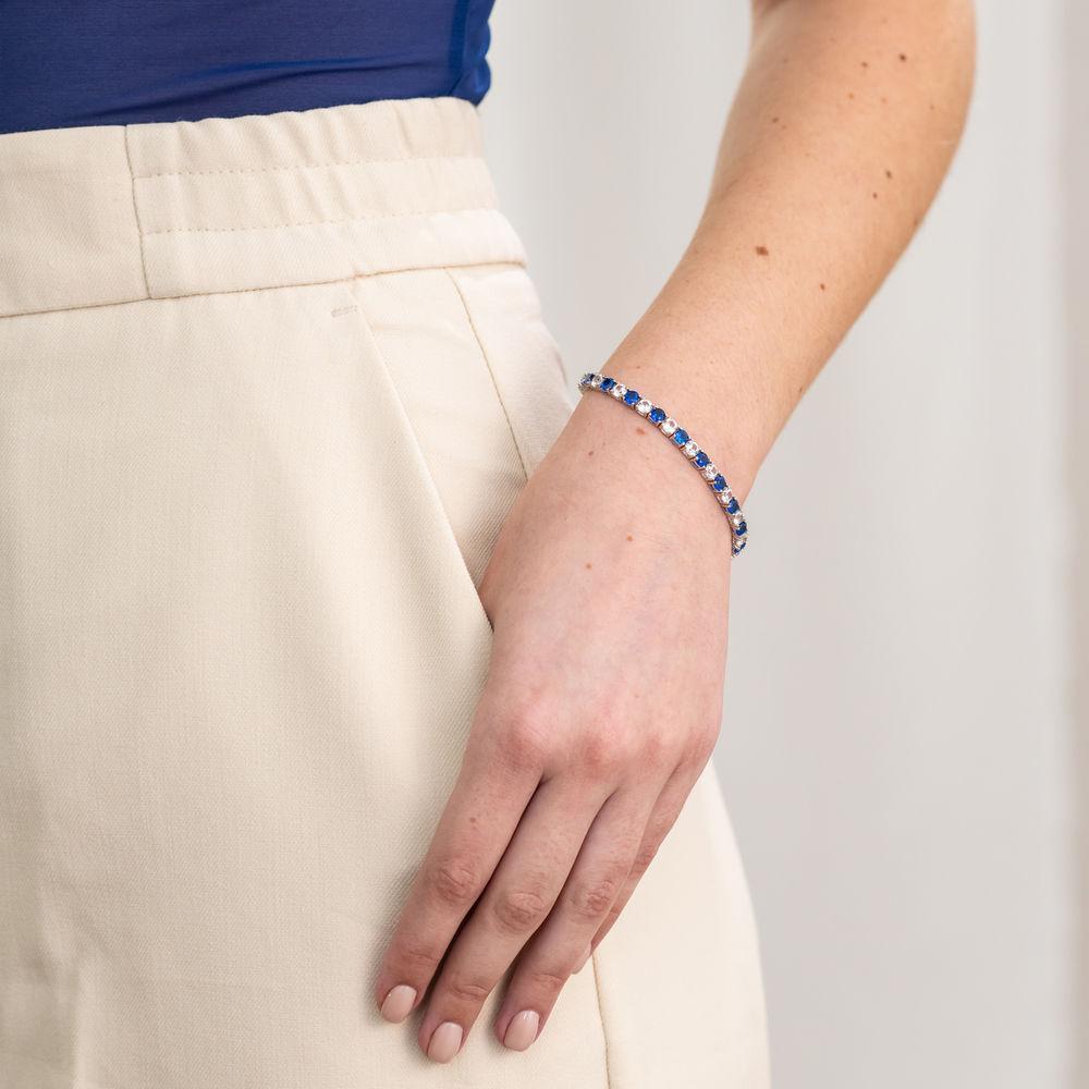 14 1/4 CT TGW Created Blue & White Sapphire Bracelet  in Sterling Silver - 3