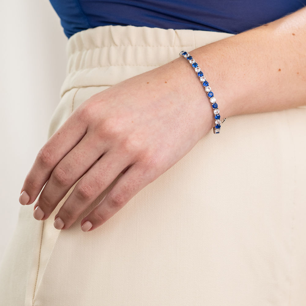 14 1/4 CT TGW Created Blue & White Sapphire Bracelet  in Sterling Silver - 4