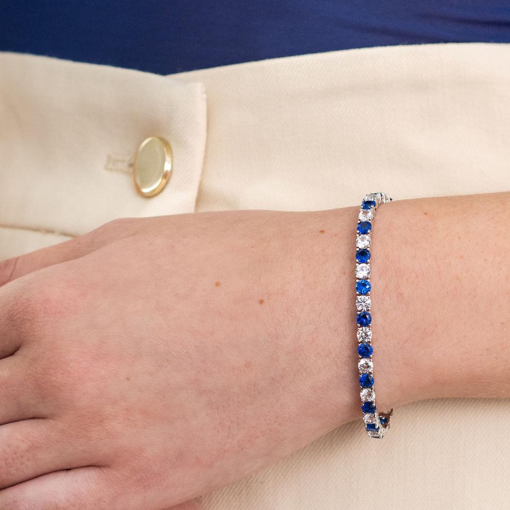 14 1/4 CT TGW Created Blue & White Sapphire Bracelet  in Sterling Silver - 5