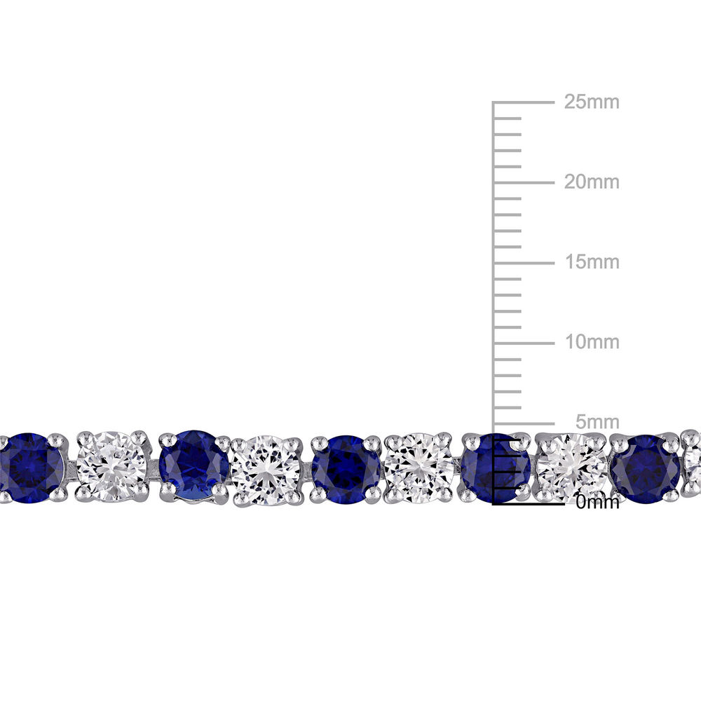 14 1/4 CT TGW Created Blue & White Sapphire Bracelet  in Sterling Silver - 6