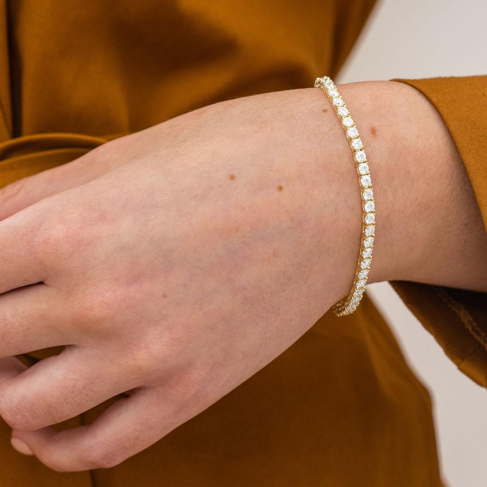 5 5/8 CT TGW Created Moissanite Tennis Bracelet in Yellow Silver - 2