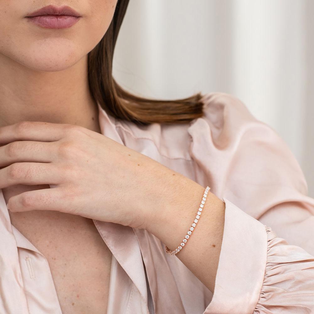 5 5/8 CT TGW Created Moissanite Tennis Bracelet in Pink Silver - 3