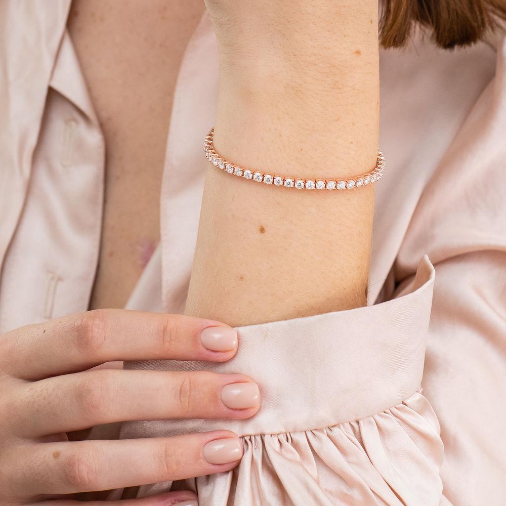 5 5/8 CT TGW Created Moissanite Tennis Bracelet in Pink Silver - 4