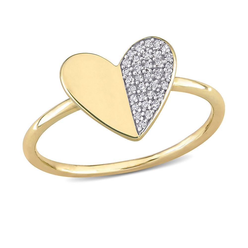 1/10 CT. T.W. Diamond Laser-Cut Heart Ring in 10k Yellow Gold
