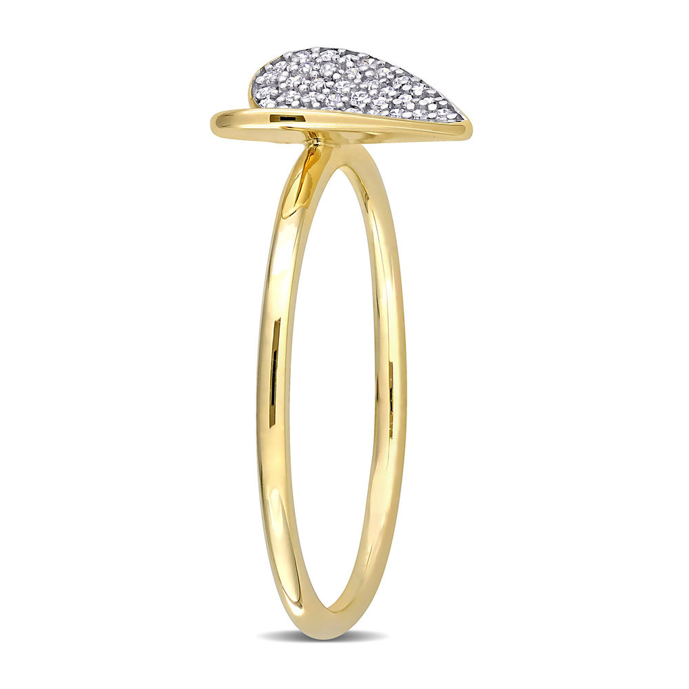 1/10 CT. T.W. Diamond Laser-Cut Heart Ring in 10k Yellow Gold - 1