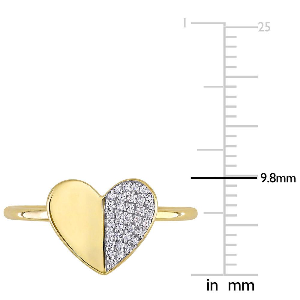 1/10 CT. T.W. Diamond Laser-Cut Heart Ring in 10k Yellow Gold - 5