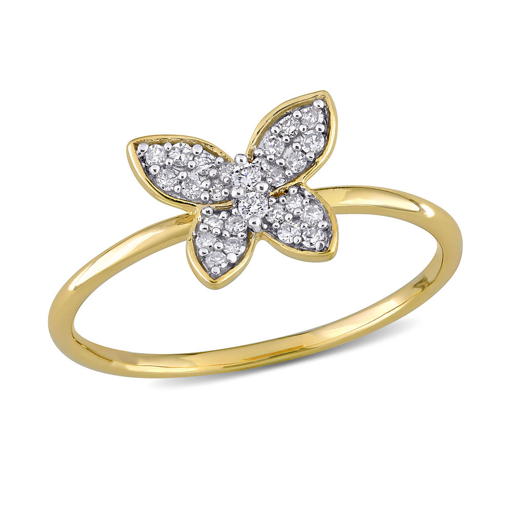 1/8 CT. T.W. Diamond Butterfly Ring in 10k Yellow Gold