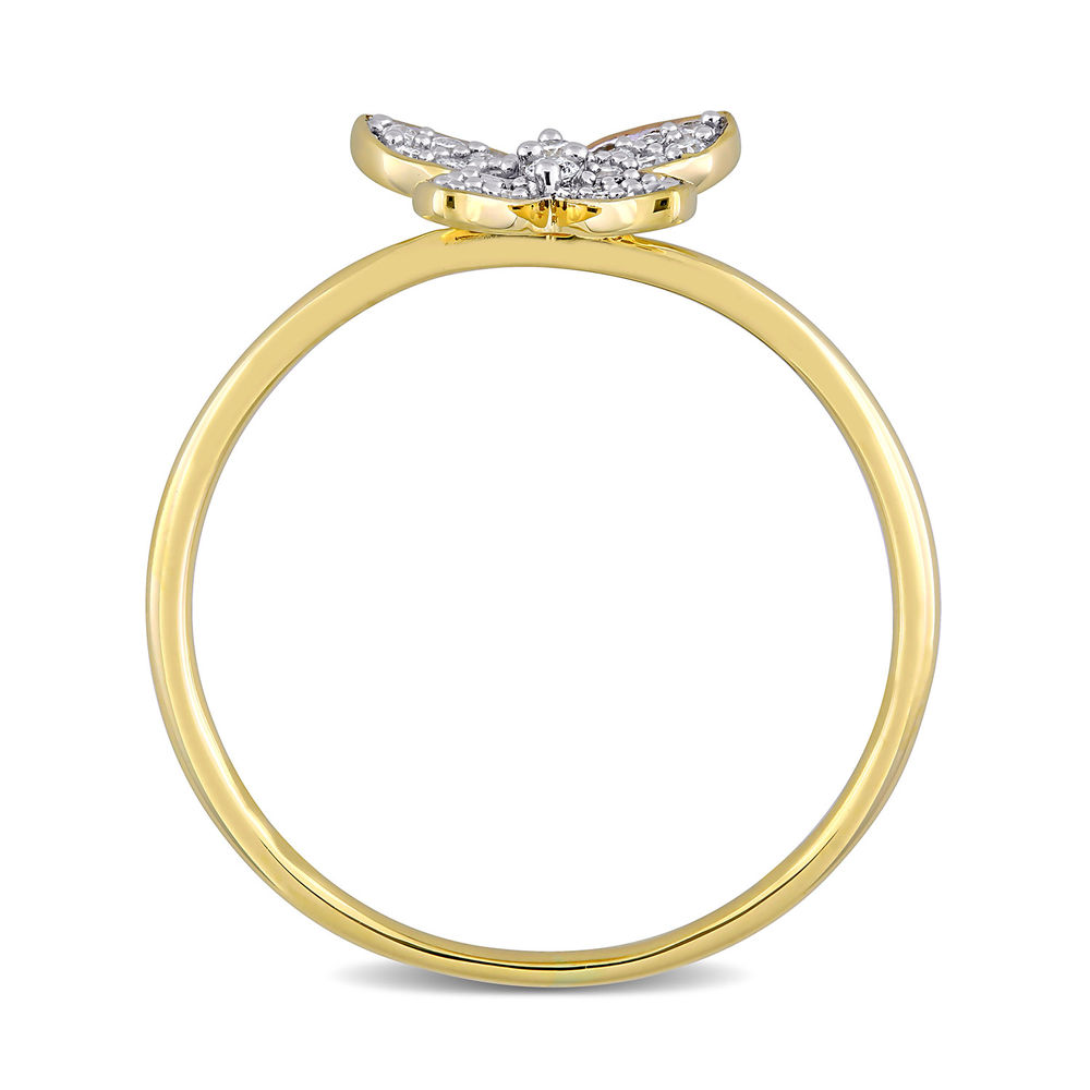 1/8 CT. T.W. Diamond Butterfly Ring in 10k Yellow Gold - 1