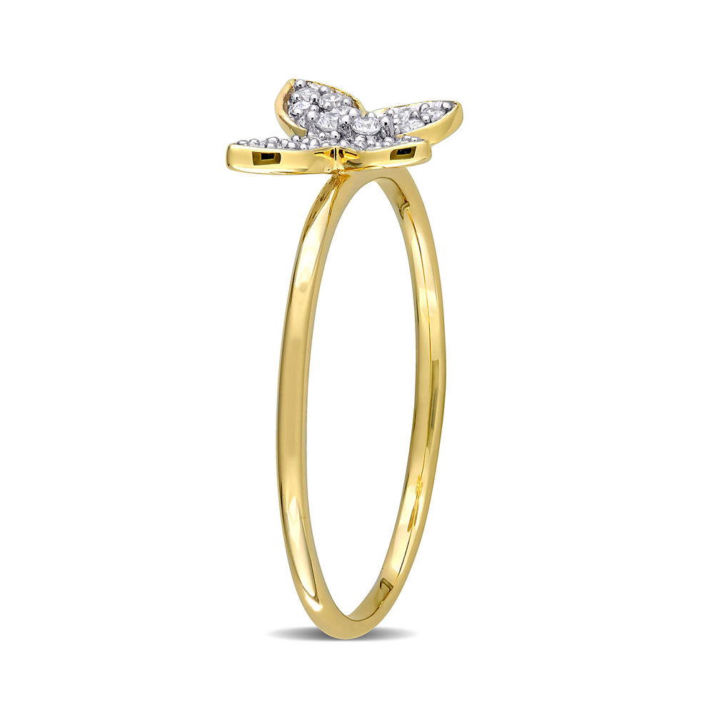 1/8 CT. T.W. Diamond Butterfly Ring in 10k Yellow Gold - 2