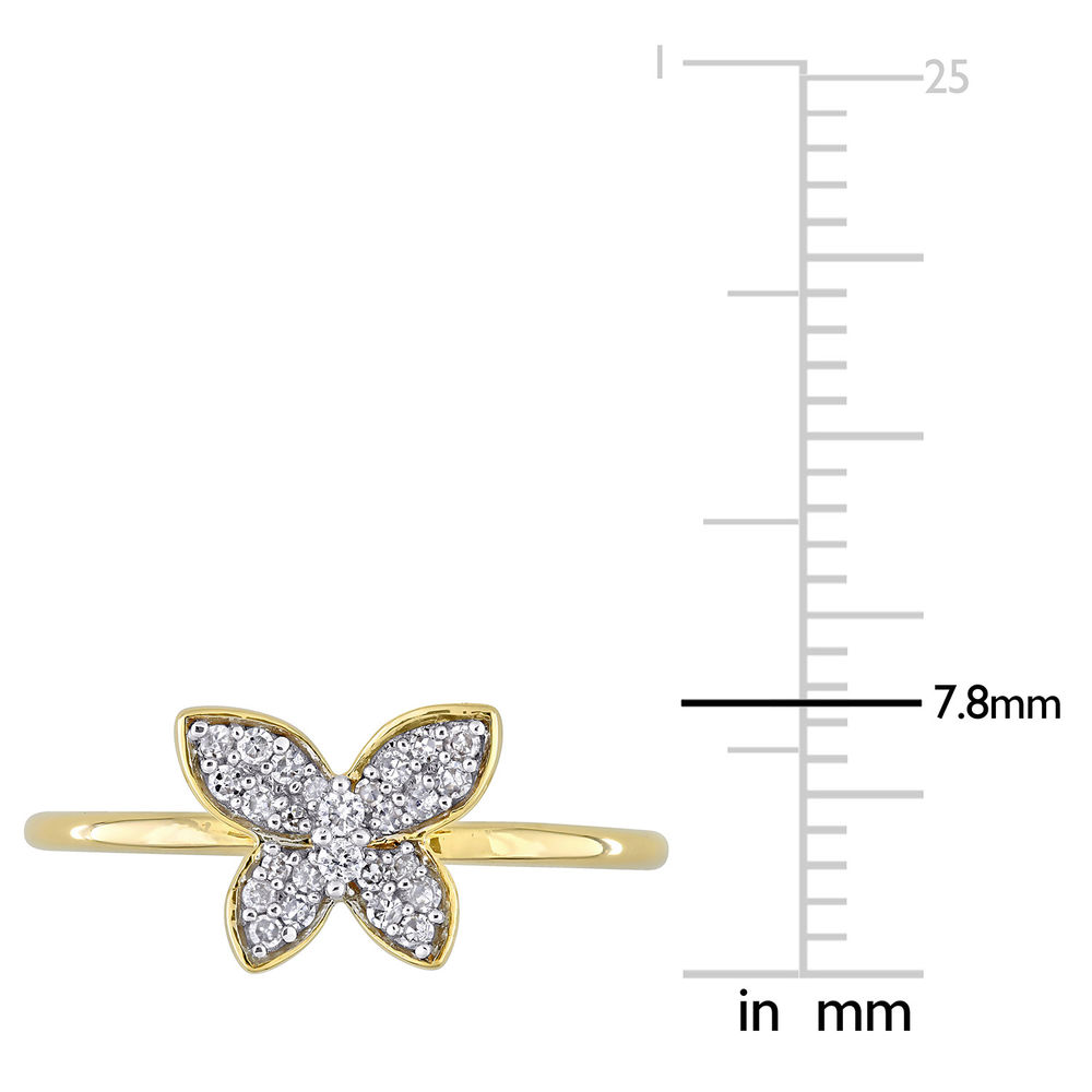 1/8 CT. T.W. Diamond Butterfly Ring in 10k Yellow Gold - 5