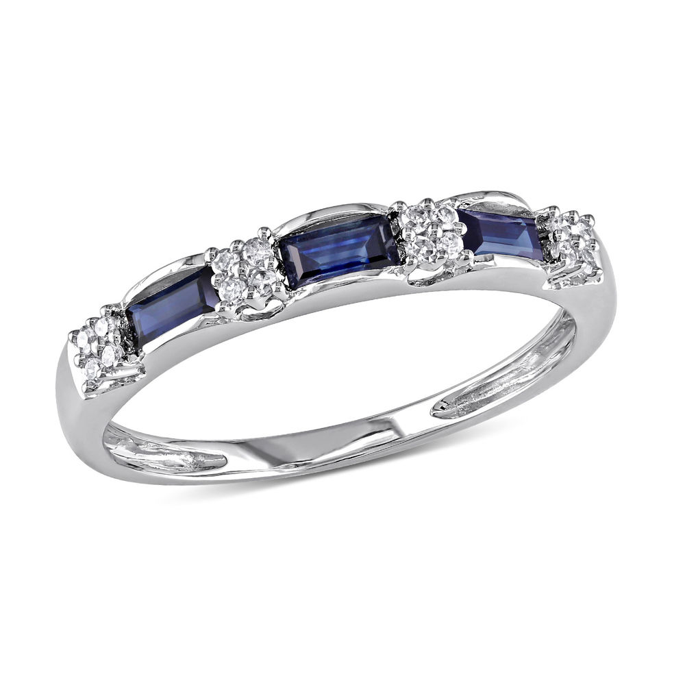 Baguette-Cut Sapphire Eternity Ring in 10k White Gold with Diamonds