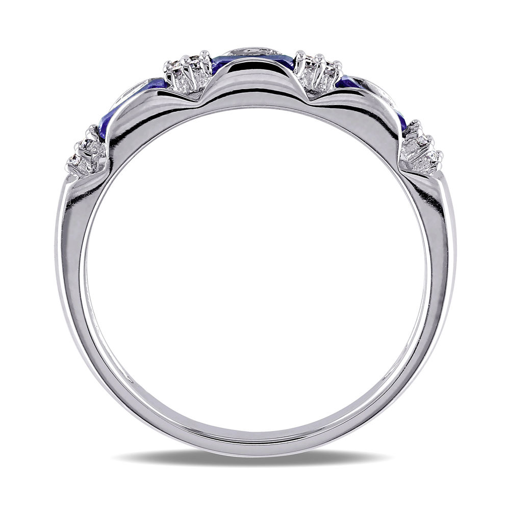 Baguette-Cut Sapphire Eternity Ring in 10k White Gold with Diamonds - 1