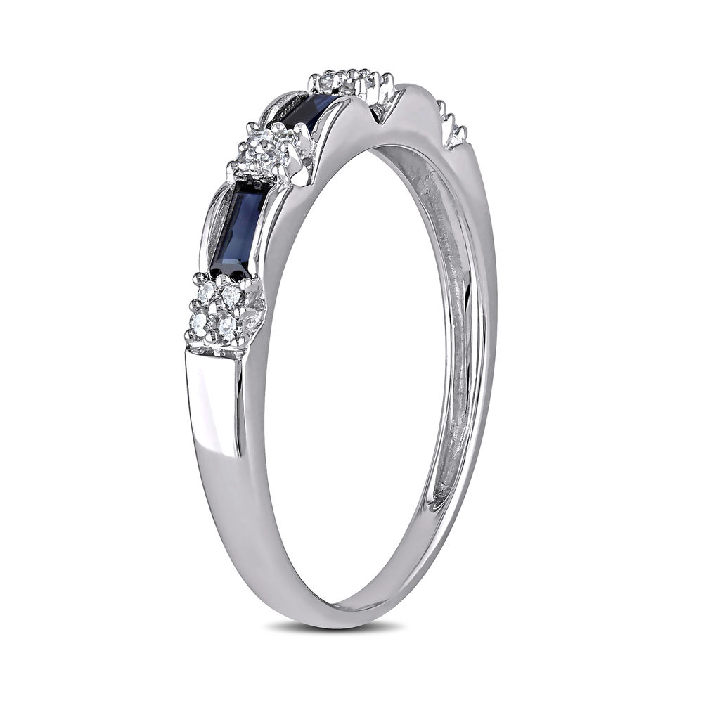 Baguette-Cut Sapphire Eternity Ring in 10k White Gold with Diamonds - 2