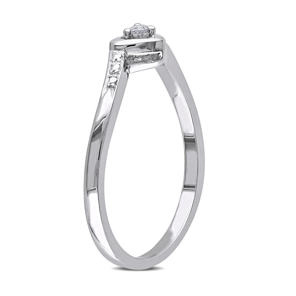Diamond Heart Ring in Sterling Silver - 1