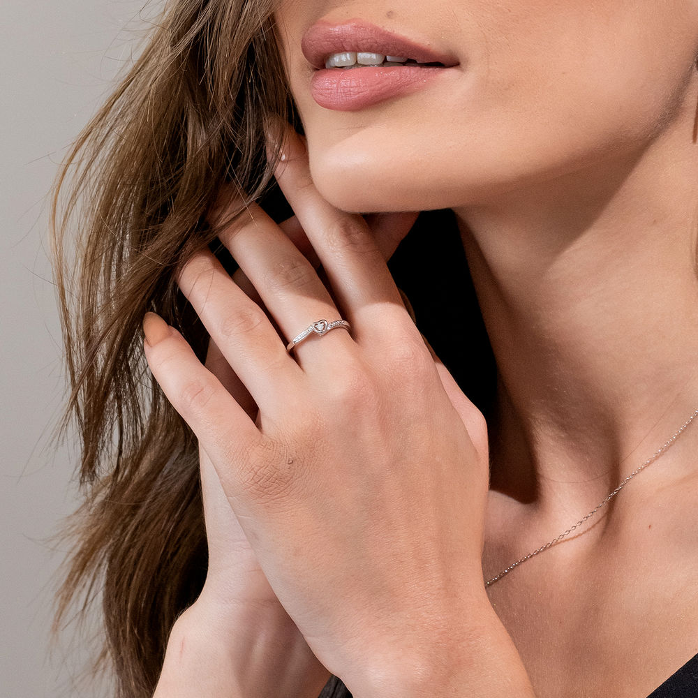 Diamond Heart Ring in Sterling Silver - 2