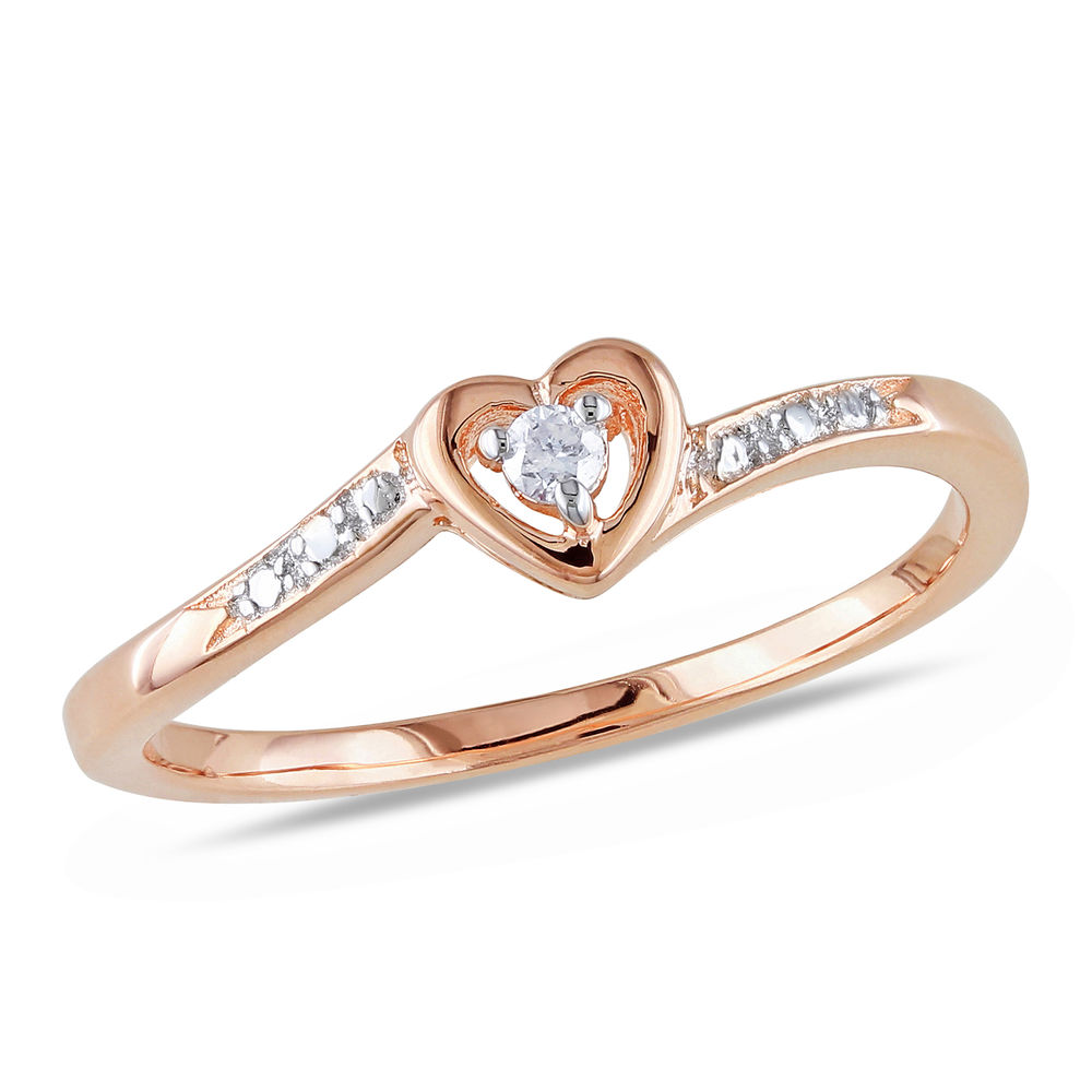 Diamond Heart Ring in Rose Gold Plated Sterling Silver