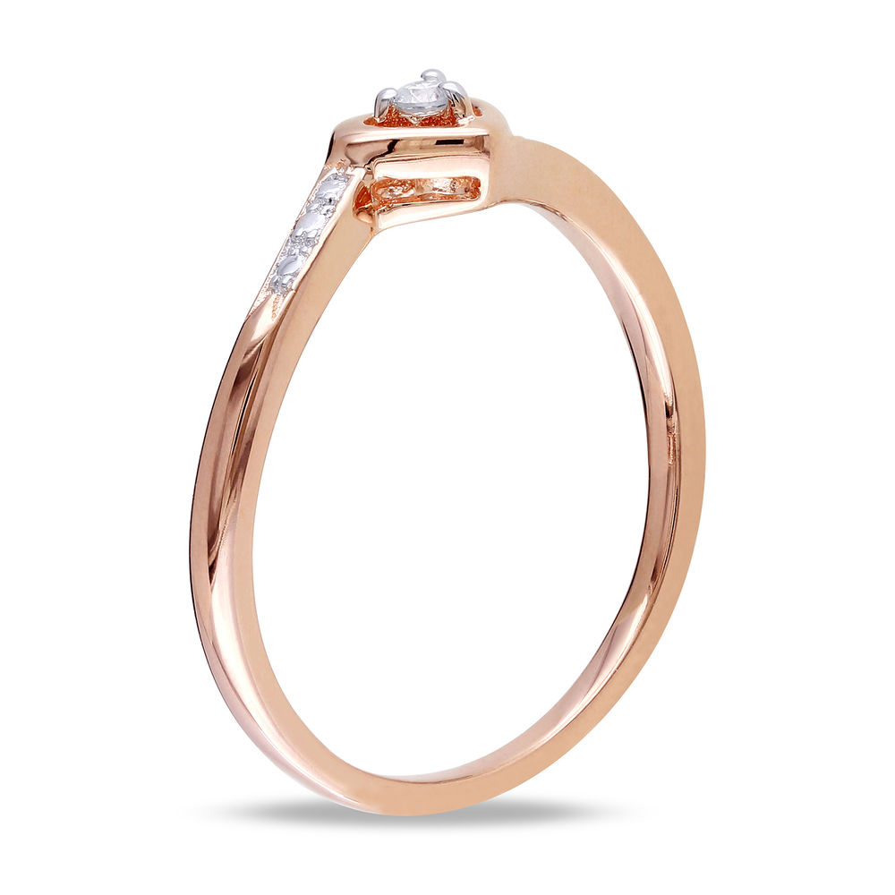 Diamond Heart Ring in Rose Gold Plated Sterling Silver - 1