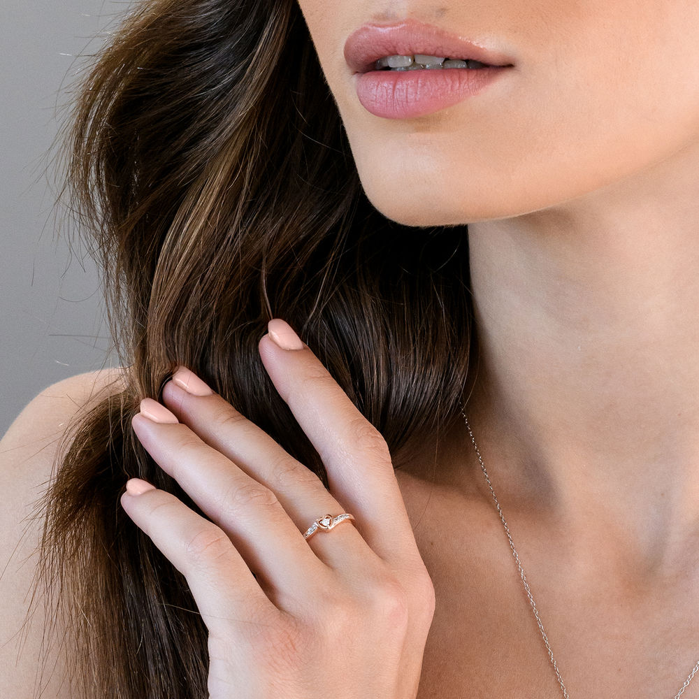 Diamond Heart Ring in Rose Gold Plated Sterling Silver - 2