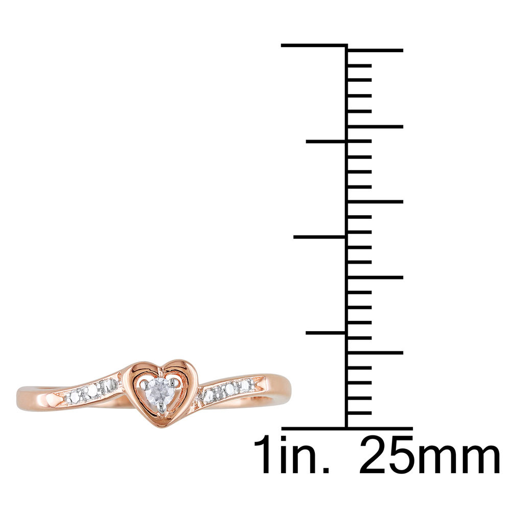 Diamond Heart Ring in Rose Gold Plated Sterling Silver - 4