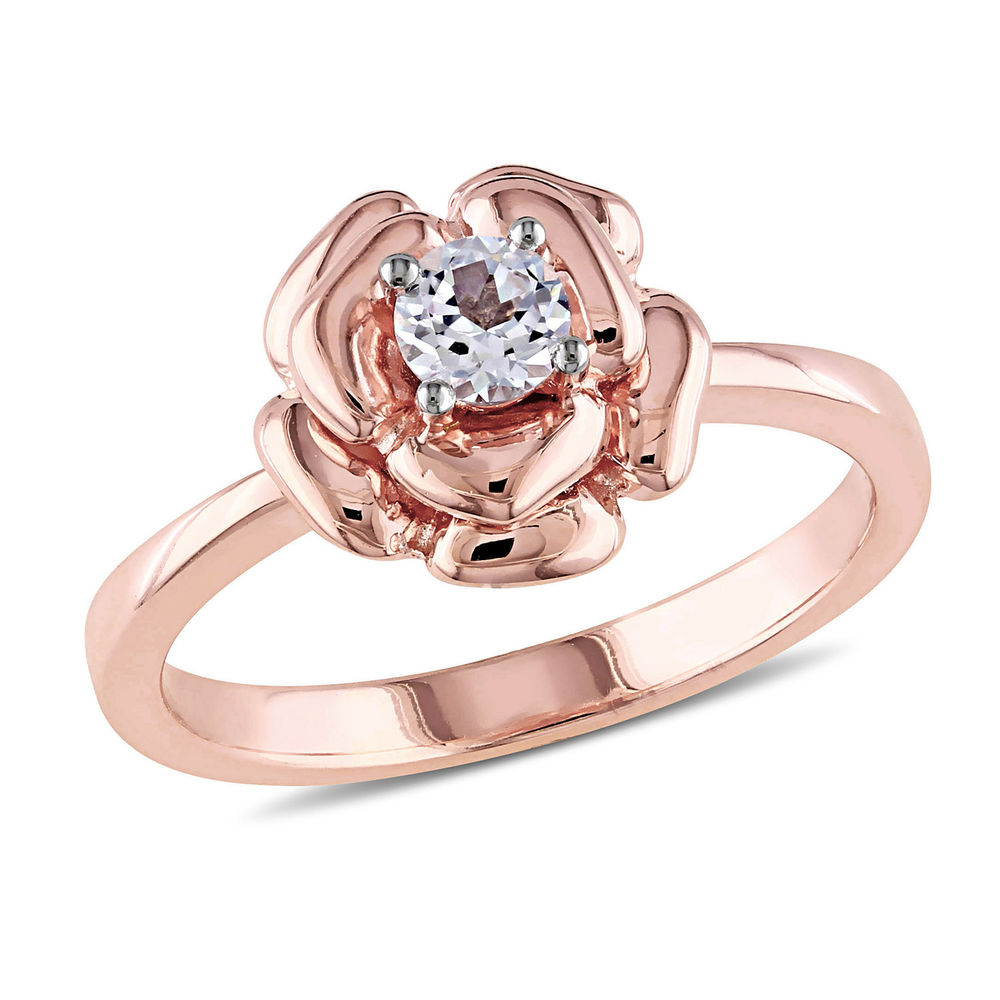 4.0mm Lab-Created White Sapphire Rose Flower Ring in Rose Gold Plated Sterling Silver