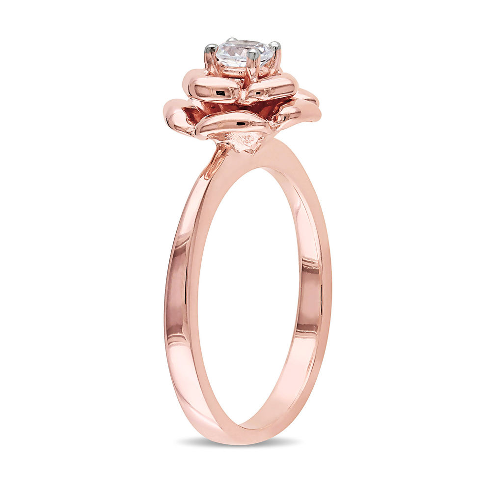 4.0mm Lab-Created White Sapphire Rose Flower Ring in Rose Gold Plated Sterling Silver - 1