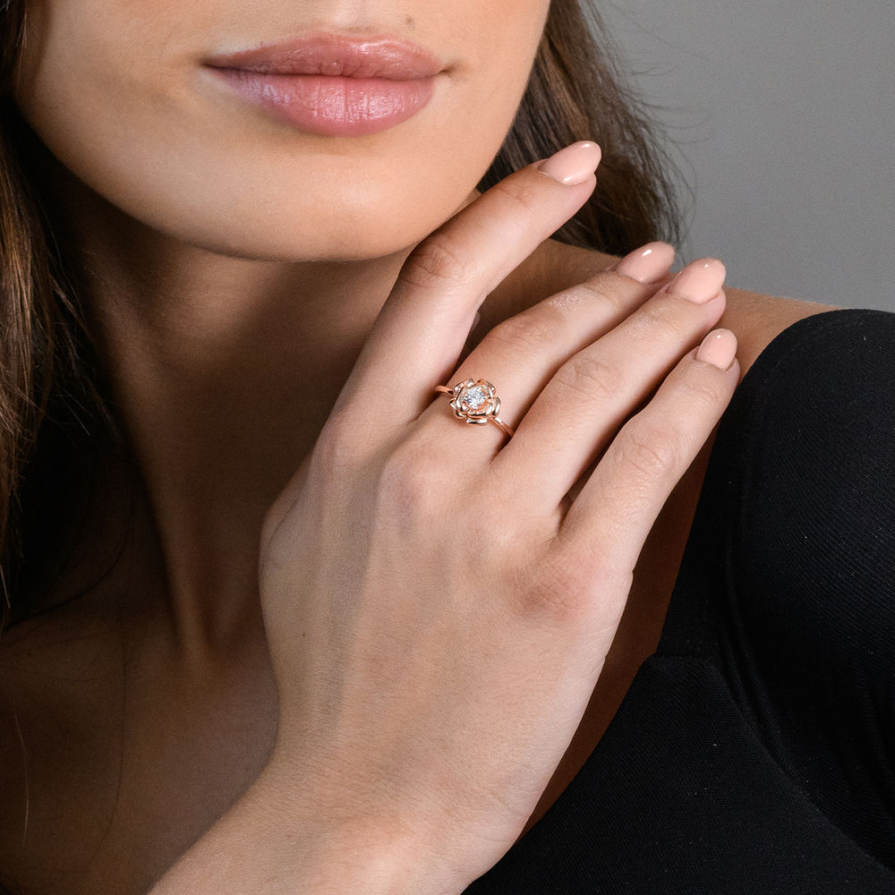 4.0mm Lab-Created White Sapphire Rose Flower Ring in Rose Gold Plated Sterling Silver - 2