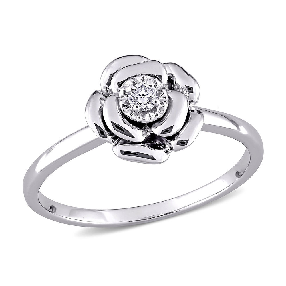Diamond Rose Flower Ring in Sterling Silver