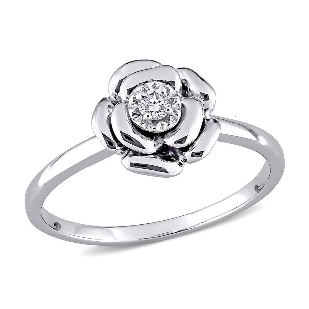 Diamond Rose Flower Ring in Sterling Silver