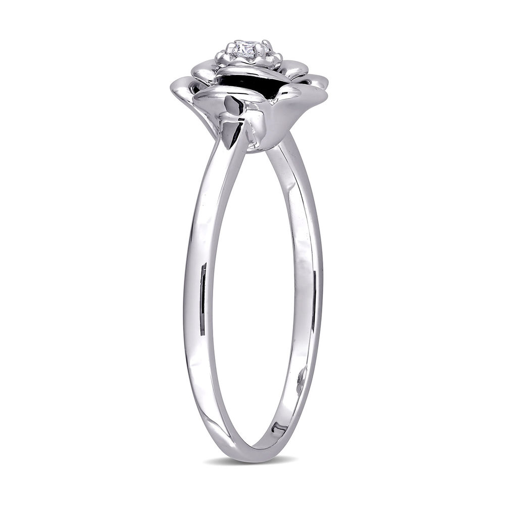 Diamond Rose Flower Ring in Sterling Silver - 1