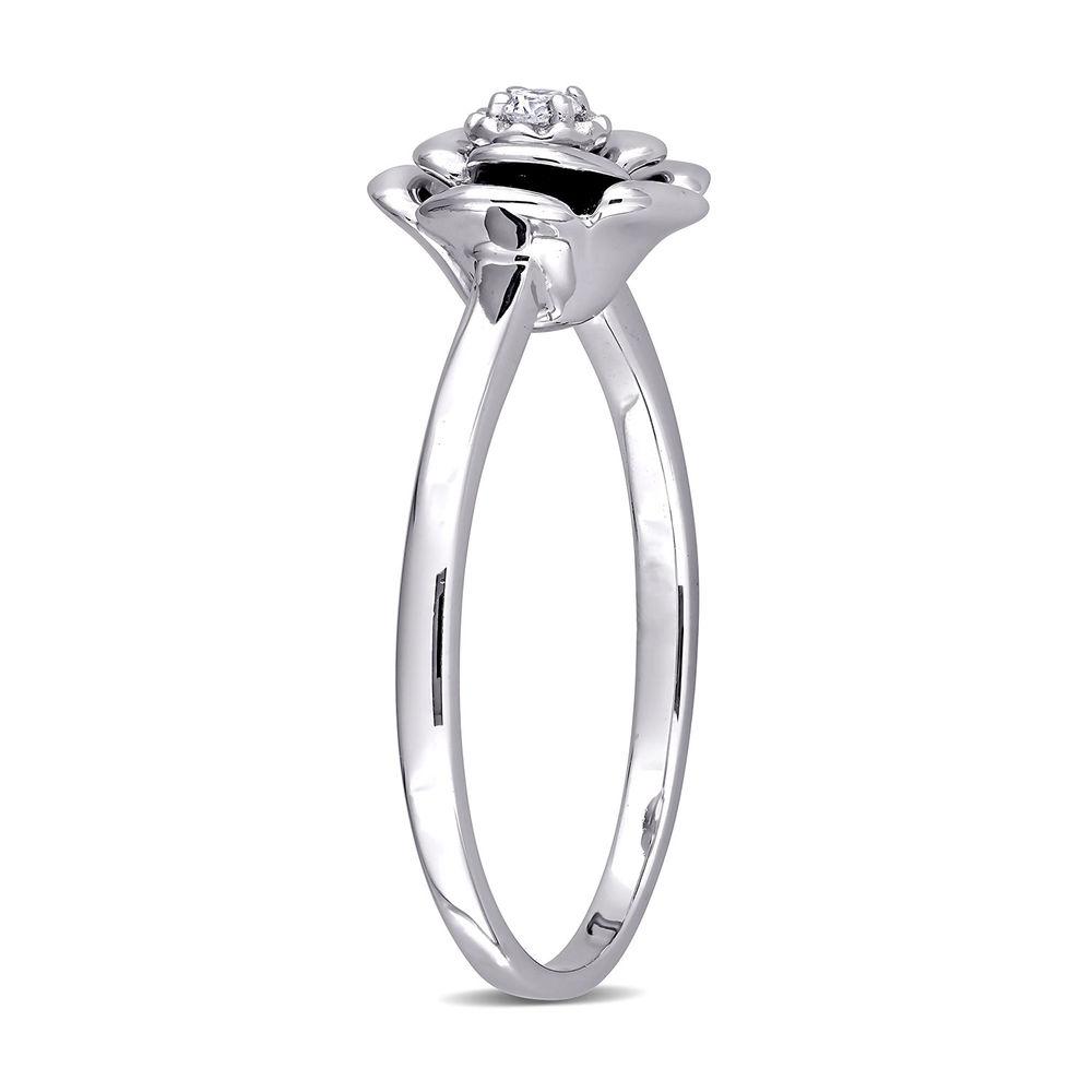 Diamond Rose Flower Ring in Sterling Silver - 1