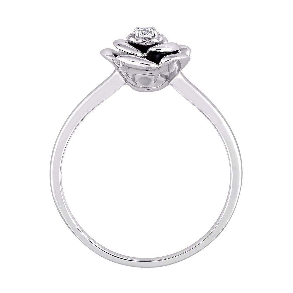 Diamond Rose Flower Ring in Sterling Silver - 2