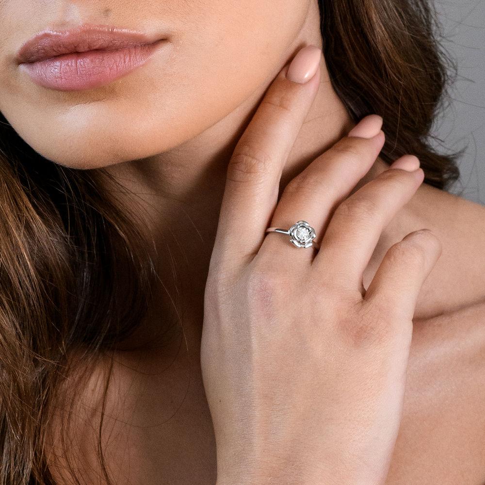 Diamond Rose Flower Ring in Sterling Silver - 3