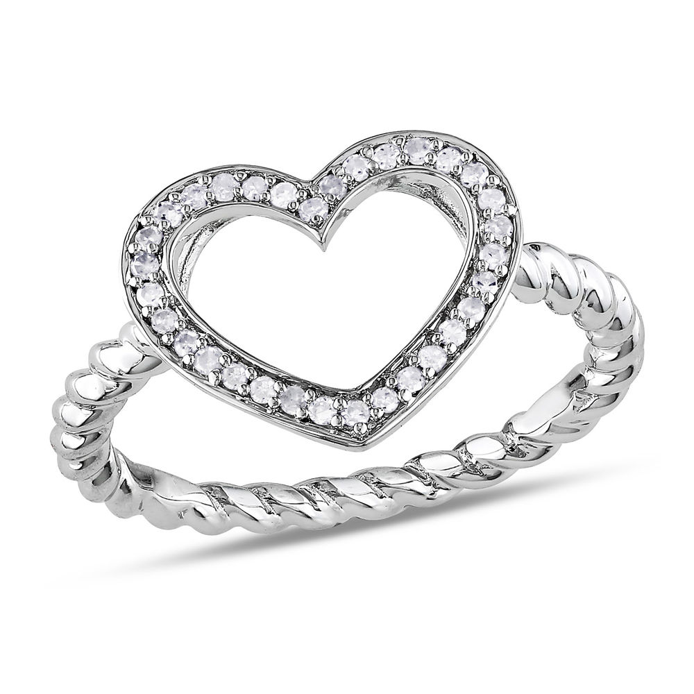 1/8 CT. T.W. Diamond Heart Ring in Sterling Silver