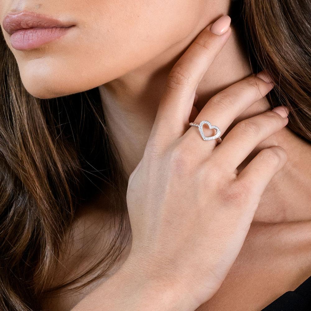 1/8 CT. T.W. Diamond Heart Ring in Sterling Silver - 2