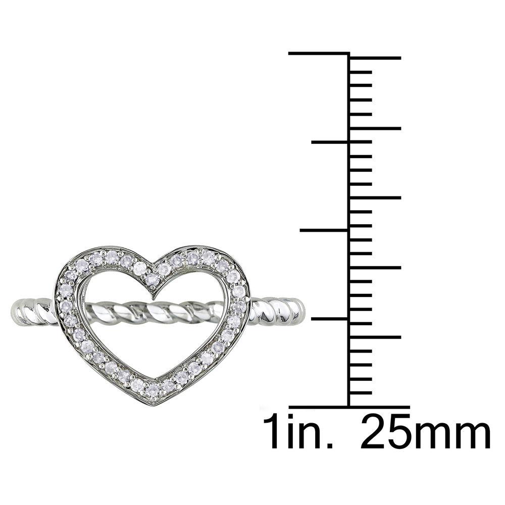 1/8 CT. T.W. Diamond Heart Ring in Sterling Silver - 4