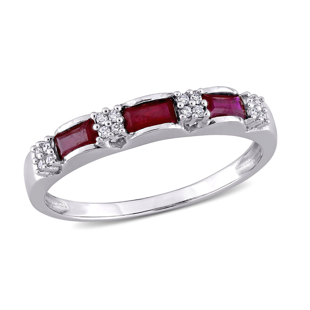 Baguette-Cut Ruby Eternity Ring in 10k White Gold with Diamonds