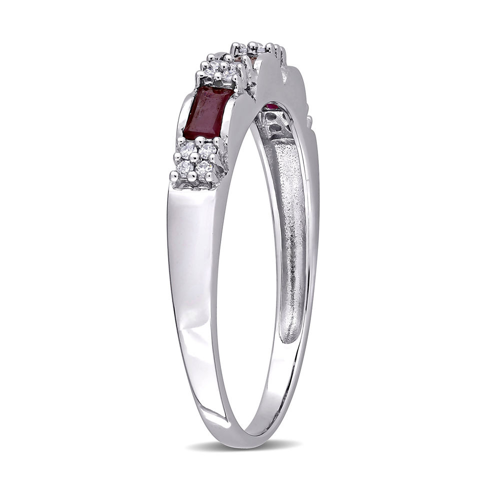 Baguette-Cut Ruby Eternity Ring in 10k White Gold with Diamonds - 2