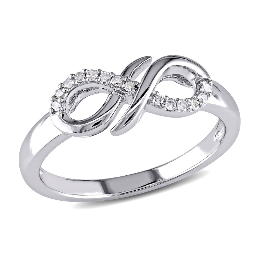 Diamond Infinity Ring in Sterling Silver