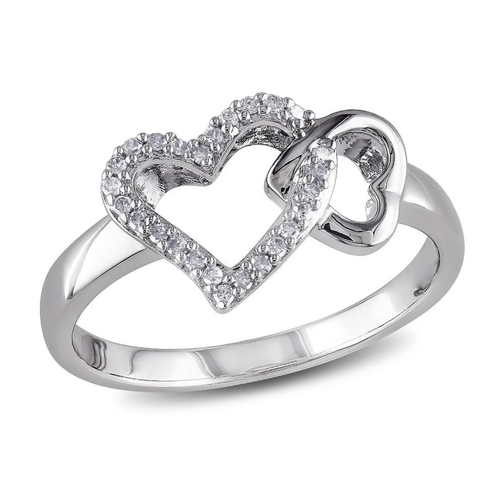 1/10 CT. T.W. Diamond Interlocked Hearts Ring in Sterling Silver
