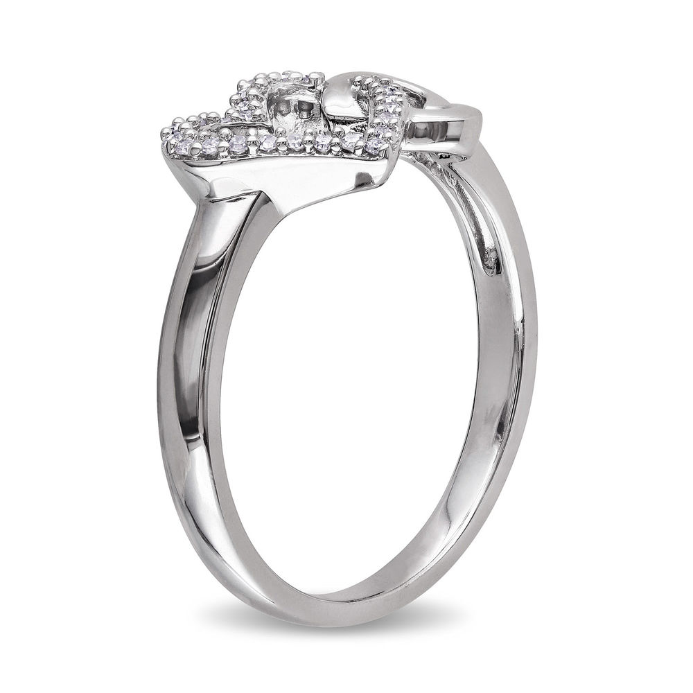 1/10 CT. T.W. Diamond Interlocked Hearts Ring in Sterling Silver - 1