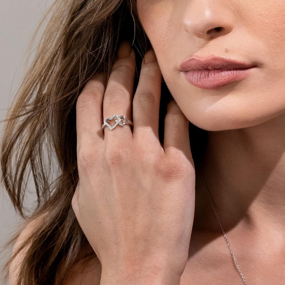 1/10 CT. T.W. Diamond Interlocked Hearts Ring in Sterling Silver - 2