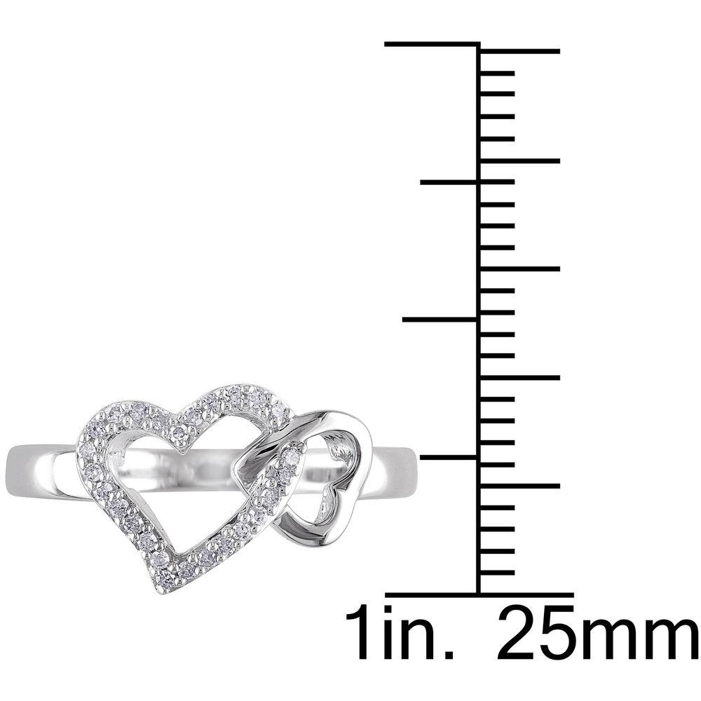 1/10 CT. T.W. Diamond Interlocked Hearts Ring in Sterling Silver - 4