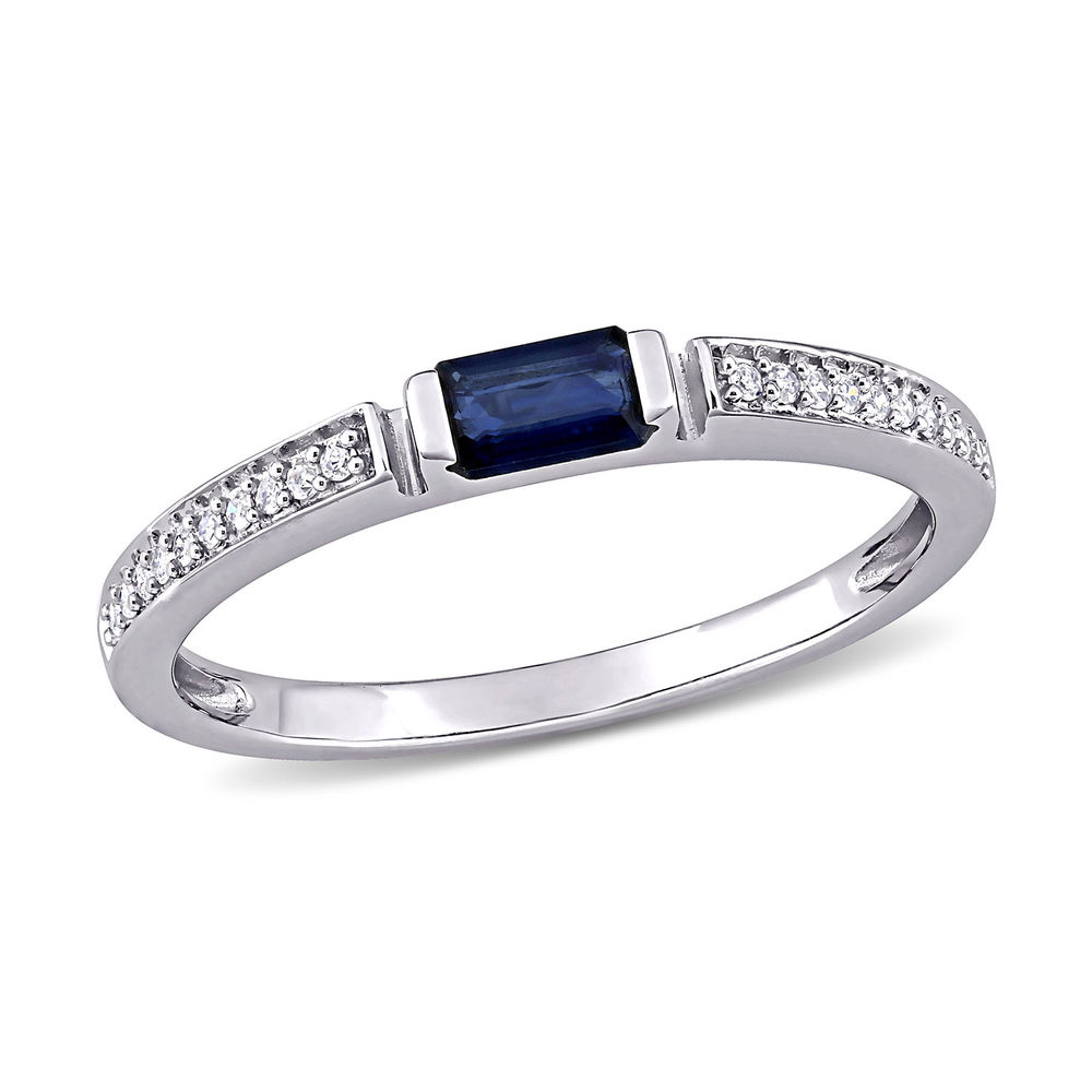 1/10 CT. T.W. Diamond and 1/3 CT. T.G.W. Octagonal-Cut Sapphire Ring in 10k White Gold