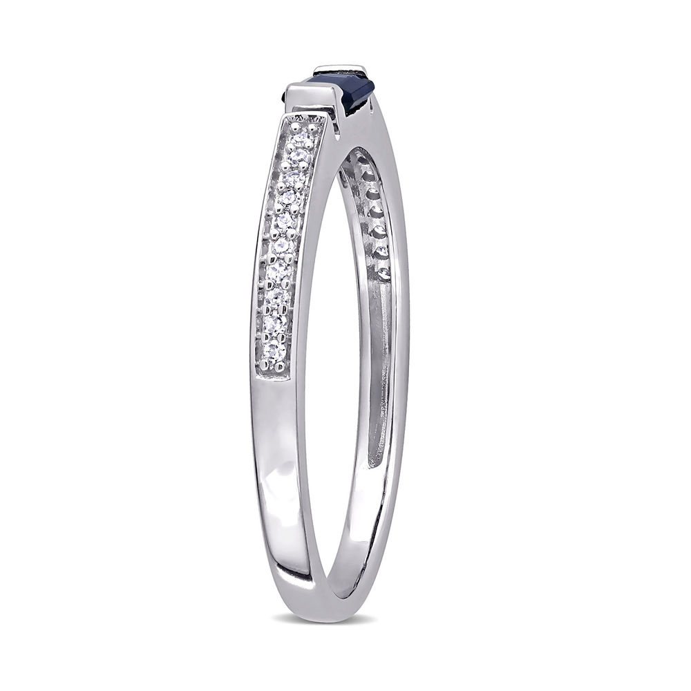 1/10 CT. T.W. Diamond and 1/3 CT. T.G.W. Octagonal-Cut Sapphire Ring in 10k White Gold - 2
