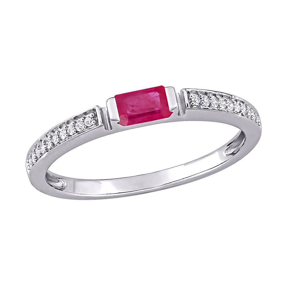 1/10 CT. T.W. Diamond and 3/8 CT. T.G.W. Octagonal-Cut Ruby Ring in 10k White Gold