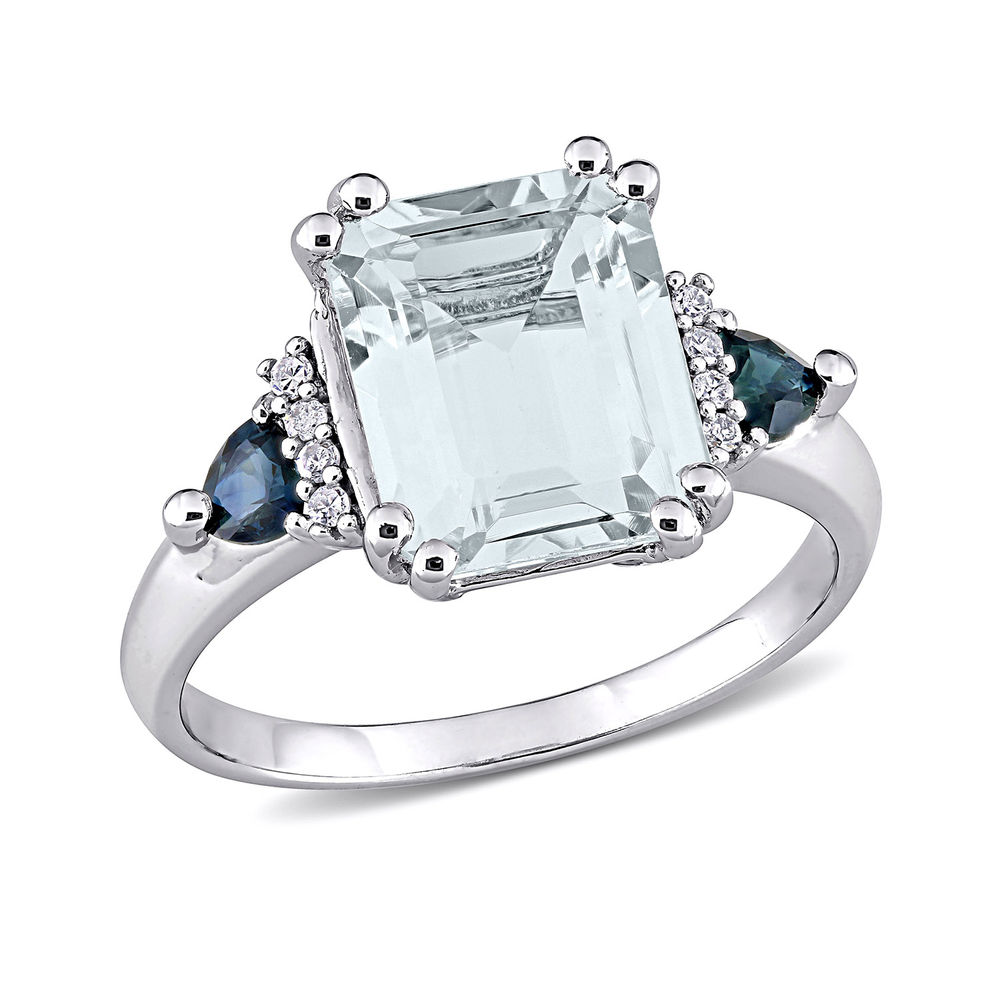 3 1/3 CT. T.G.W. Aquamarine & Sapphire Ring in Sterling Silver with Diamonds